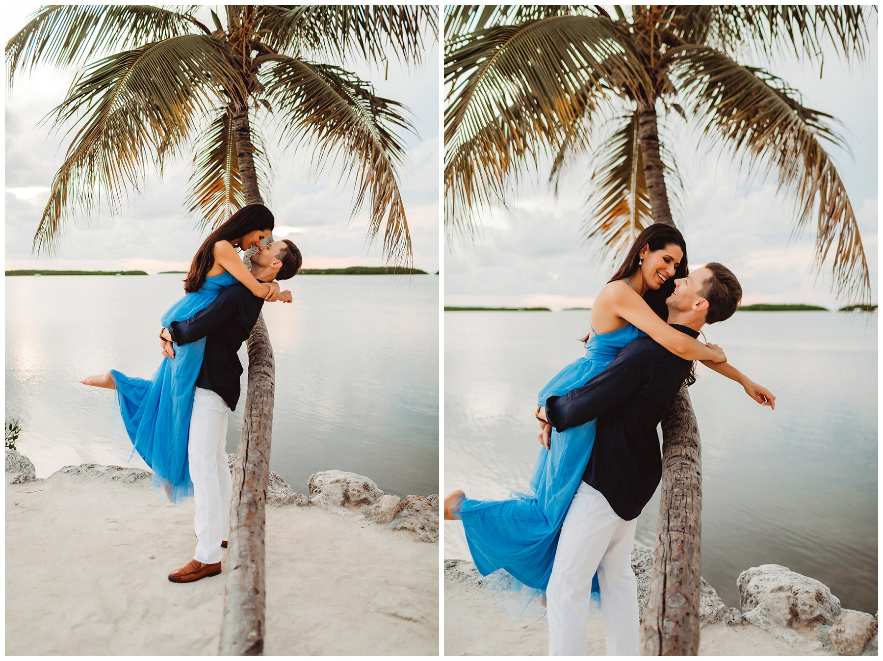 couple portraits for engagement by a palm tree