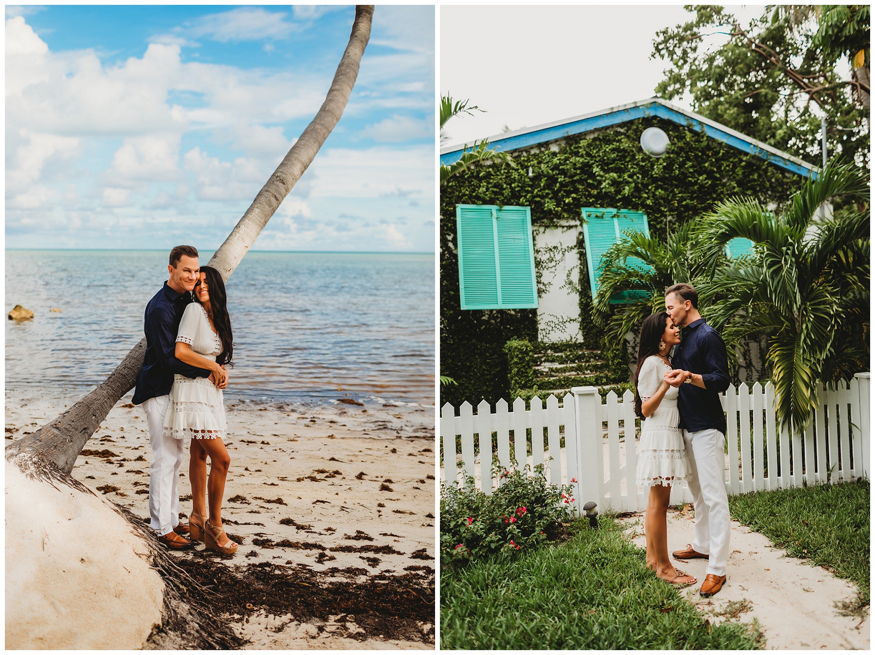 couple engagement portraits on an island