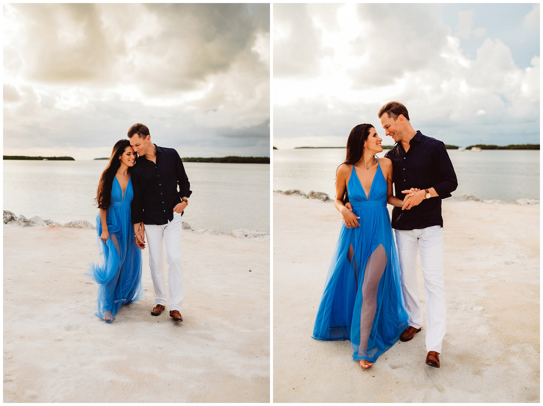 couple portraits for engagement on the beach