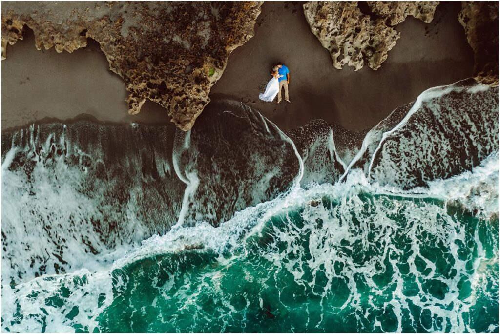 Drone image from beach engagement