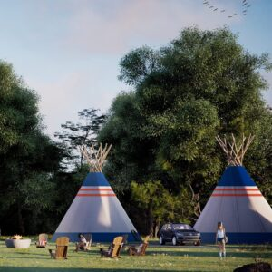 Guests enjoying the nice weather outside tipis at Camp Bespoke.