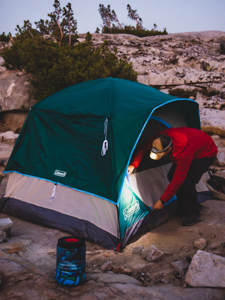 Setting up camp at Thousand Island Lake