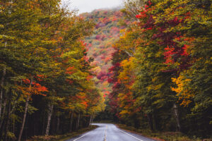 Kancamagus Highway near the White Mountains of New Hampshire
