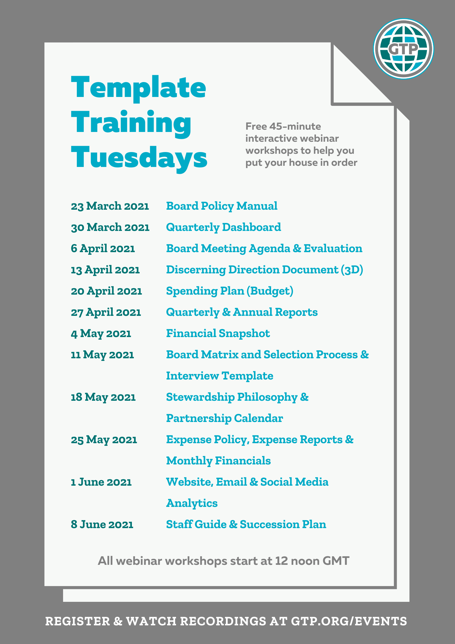 GTP Template Training Tuesdays Poster