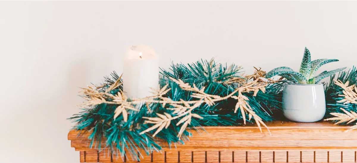 Christmas Garland on Mantle with Candle