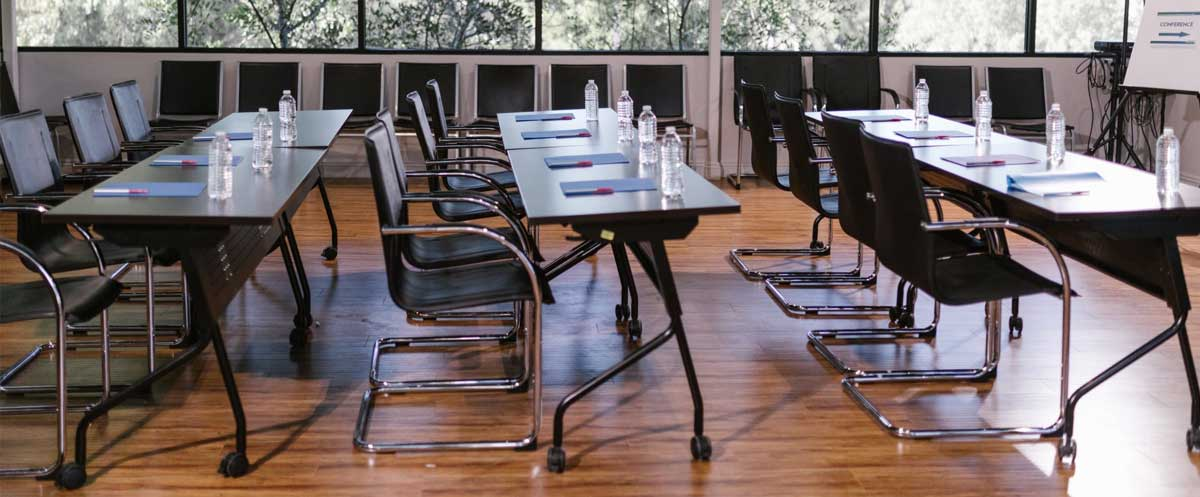 Presentation Room with desks and chairs