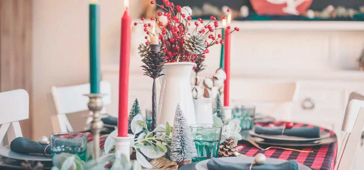 Dining Room with Green and Red Holiday Table Settings