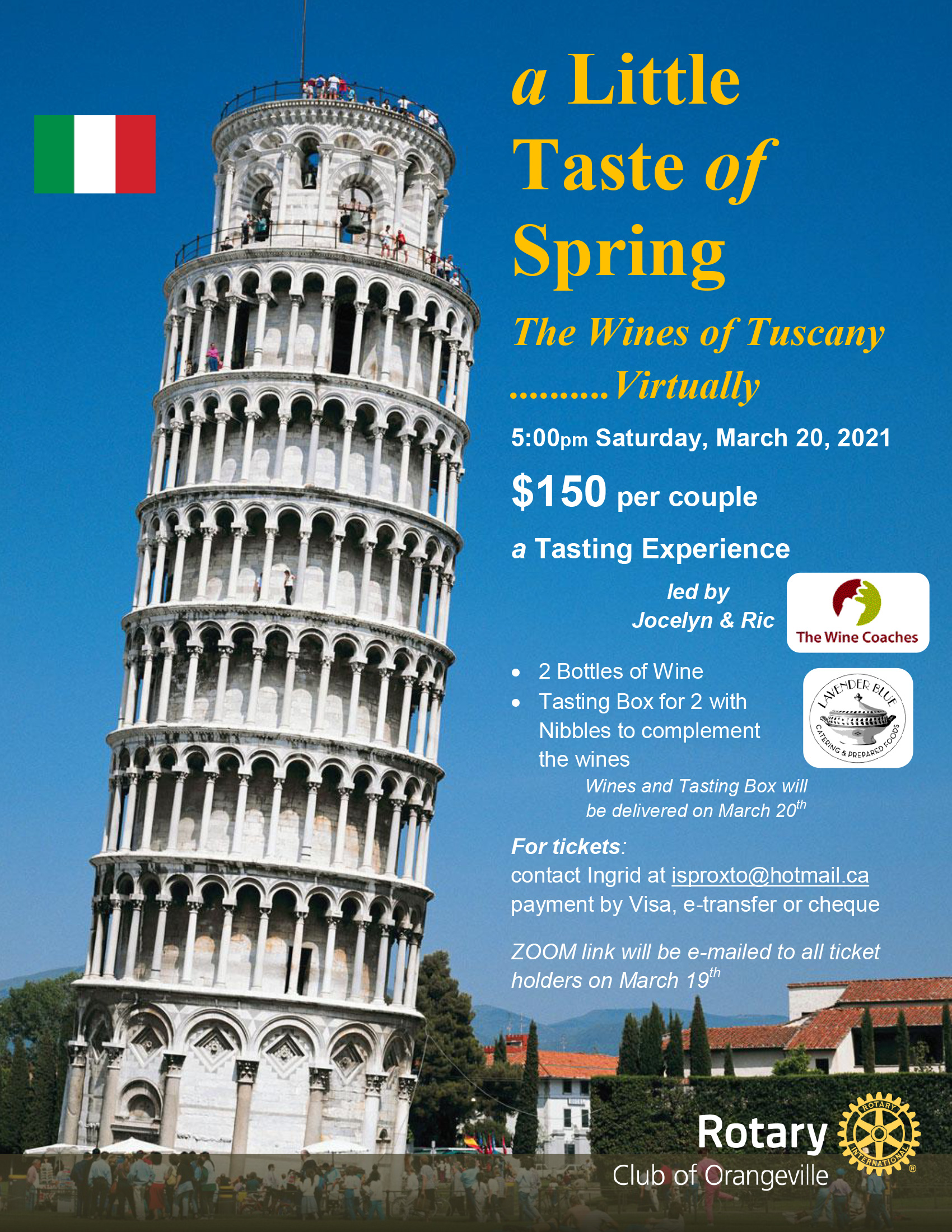Poster, Tower of Piazza, promoting the Little Taste of Spring Wine Tasting Experience.