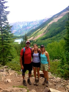 Hiking up to Maroon Bells.