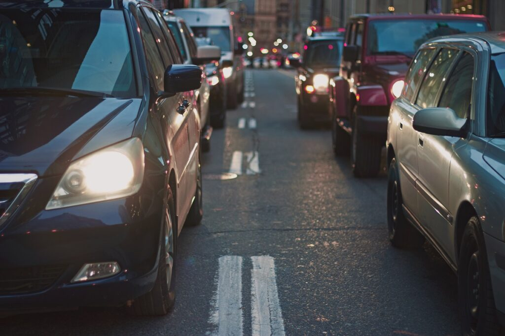 cars on busy road