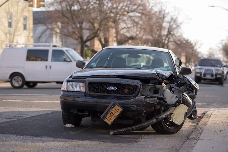 wrecked vehicle after car crash