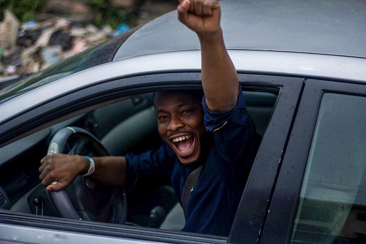 happy man in car