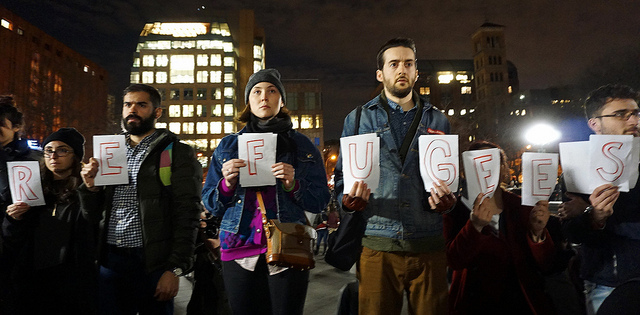 Protester gather at Washington Square Park in New York to demonstrate against Donald Trump's travel ban on refugees and people from predominantly Muslim nations.