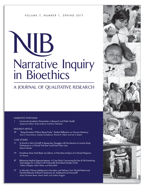 Narrative Inquiry in Bioethics Journal New Issue