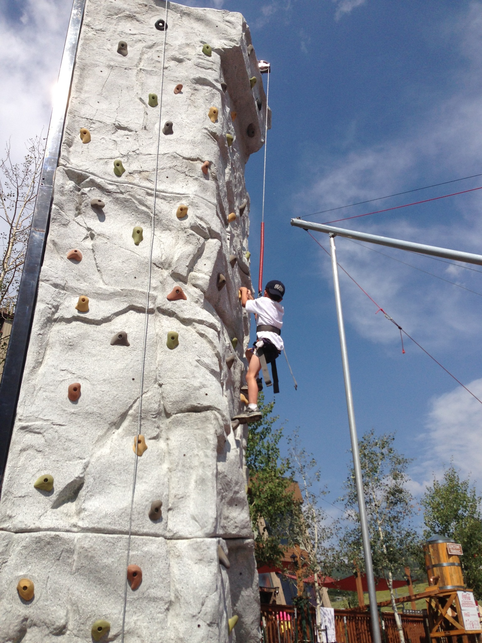 Nicholas the Tuna on the climbing wall