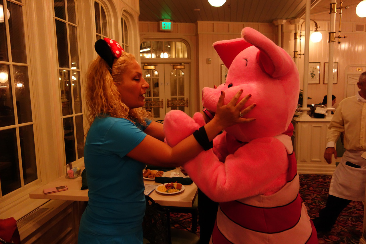 Chris Sendi - Sherry and piglet at Crystal Palace, Disneyworld