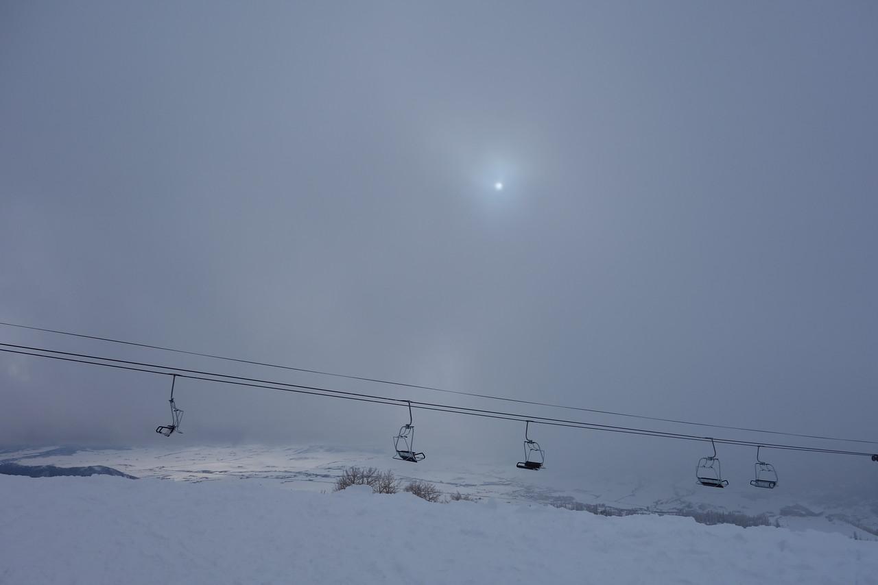 Sun's peeking over Storm Peak
