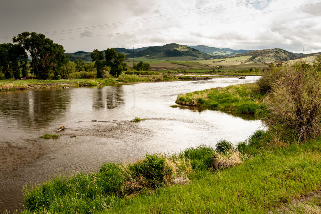 View of Jefferson River outside of  Whitehall MT.
