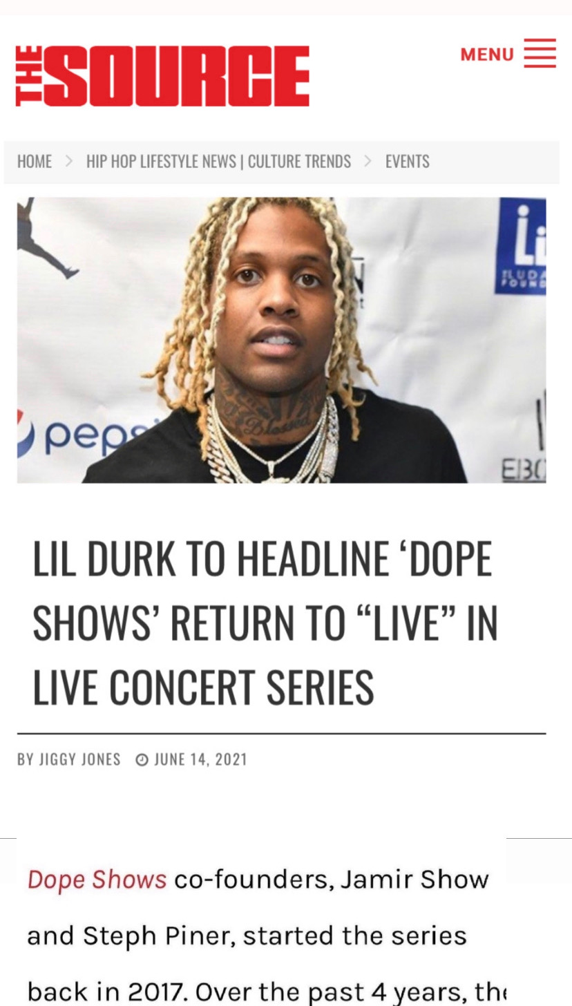 """LIL DURK TO HEADLINE 'DOPE SHOWS' RETURN TO """"LIVE"""" IN LIVE CONCERT SERIES"""