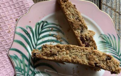 Gluten Free Vegan Cranberry Orange Oat Flour Biscotti