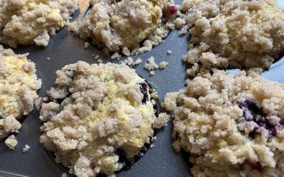 Gluten Free Vegan Blueberry Crumb Muffins