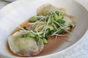 Edamame-Dumplings-with-Daikon-Radish-and-White-Truffle-Oil
