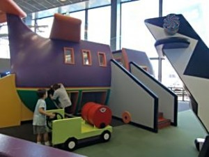 The Children's Museum area of O'Hare's Terminal 2 has models of familiar airport items