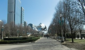 Visitors head up the paths in Millennium Park to see its Frank Gehry sculptured roof of the Pritztker Pavilion and Cloud Gate. Photo by Jodie Jacobs