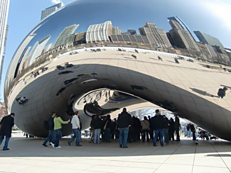 """""""Coud Gate"""" (The Bean) reflects people and skyline in Millennium Park. (J Jacobs photo)"""
