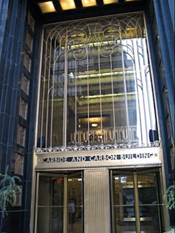 Carbide and Carbon Building on Michigan Avenue just south of the river is a fine example of art deco