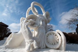 Wisconsin 1 by Milwaukee team of Dave Andrews, Gina Dilbirti and Zach Ruezter won the National Snow Sculpting Competition in Lake Geneva, 2016. Visit Lake Geneva photo