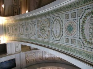 Mosaics line stairway and walls in Chicago Culture Center known as the 'People's Palace' Photo by Jodie Jacobs