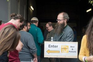 Dovetail owners Hagen Dost and Bill Wesselink welcome visitors to their brewery.