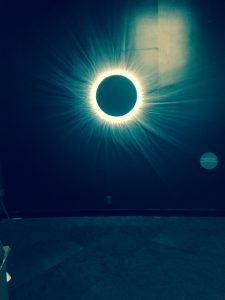 """The Adler Planetarium's """"Chasing Eclipses"""" exhibit simulates a total solar eclipse that includes the cooling air and sounds. Jodie Jacobs photos"""
