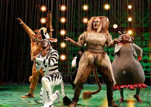 """Madagascar """"animals"""" escape from zoo on Chicago Shakespeare's stage. Liz Lauren photo"""