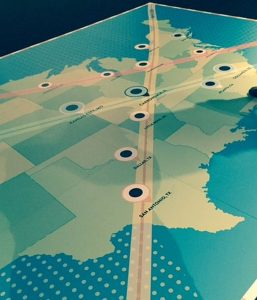 Floor map of eclipse paths at the Adler Planetarium. Jodie Jacobs photos