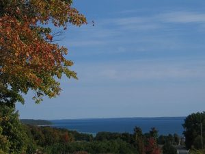 Leaves are just beginning to change color in the Traverse City area of Michigan.