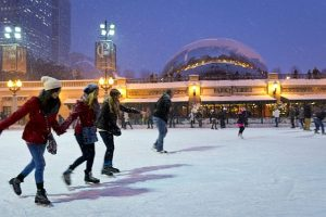 Skaters at the McCormick Tribune Ice Rink in Millennium Park. City of Chicago photo