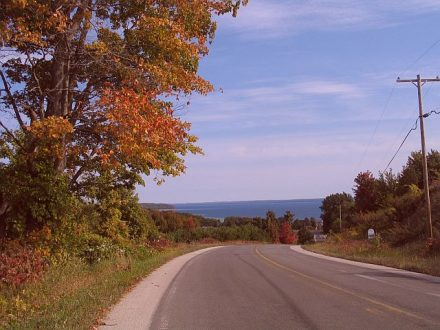 Over every hill is another spectacular view when hiking or driving Old Mission Peninsula at Traverse City.