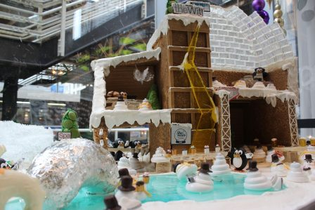 Gingerbread village and ice skating rink in theWit lobby. (the Wit photo)