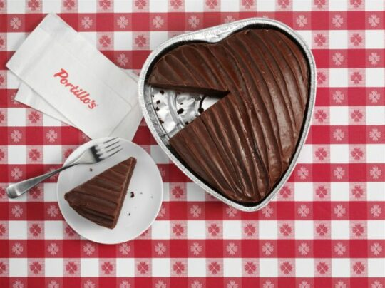 Instead of a heart-shaped box of candy, be original and think Portillo's justly famous chocolate cake. (Wagstaff Chicago photo)