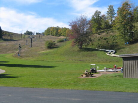 Crystal Mountain goes from ski resort to golf but is also a family resort with a good pool and dining options. (J Jacobs photo)