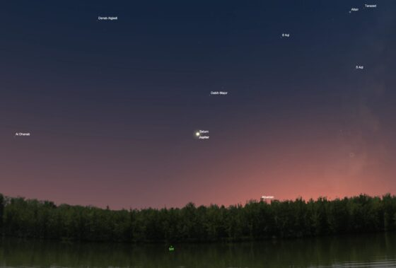 Graphic made from a simulation program, showing a view of the 2020 great conjunction through the naked eye just after sunset (NASA photo)