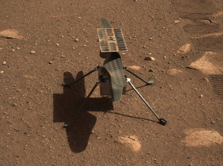 NASA's Ingenuity Mars helicopter is seen in a close-up taken by Mastcam-Z, a pair of zoomable cameras aboard the Perseverance rover. This image was taken on April 5, 2021, the 45th Martian day, or sol, of the mission. (photo credits: NASA/JPL-Caltech/ASU)
