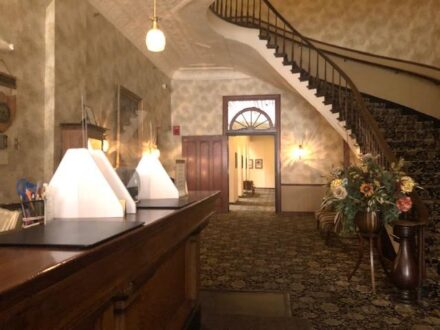 Historic staircase in the Desoto House Hotel. (J Jacobs photo)