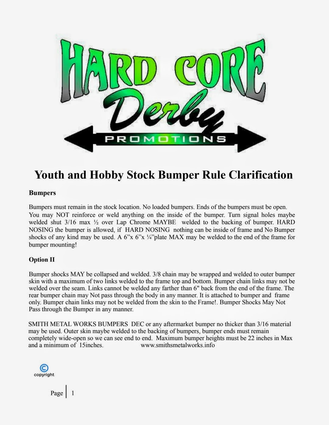 Youth and Hobby Stock Bumper Rule Clarification