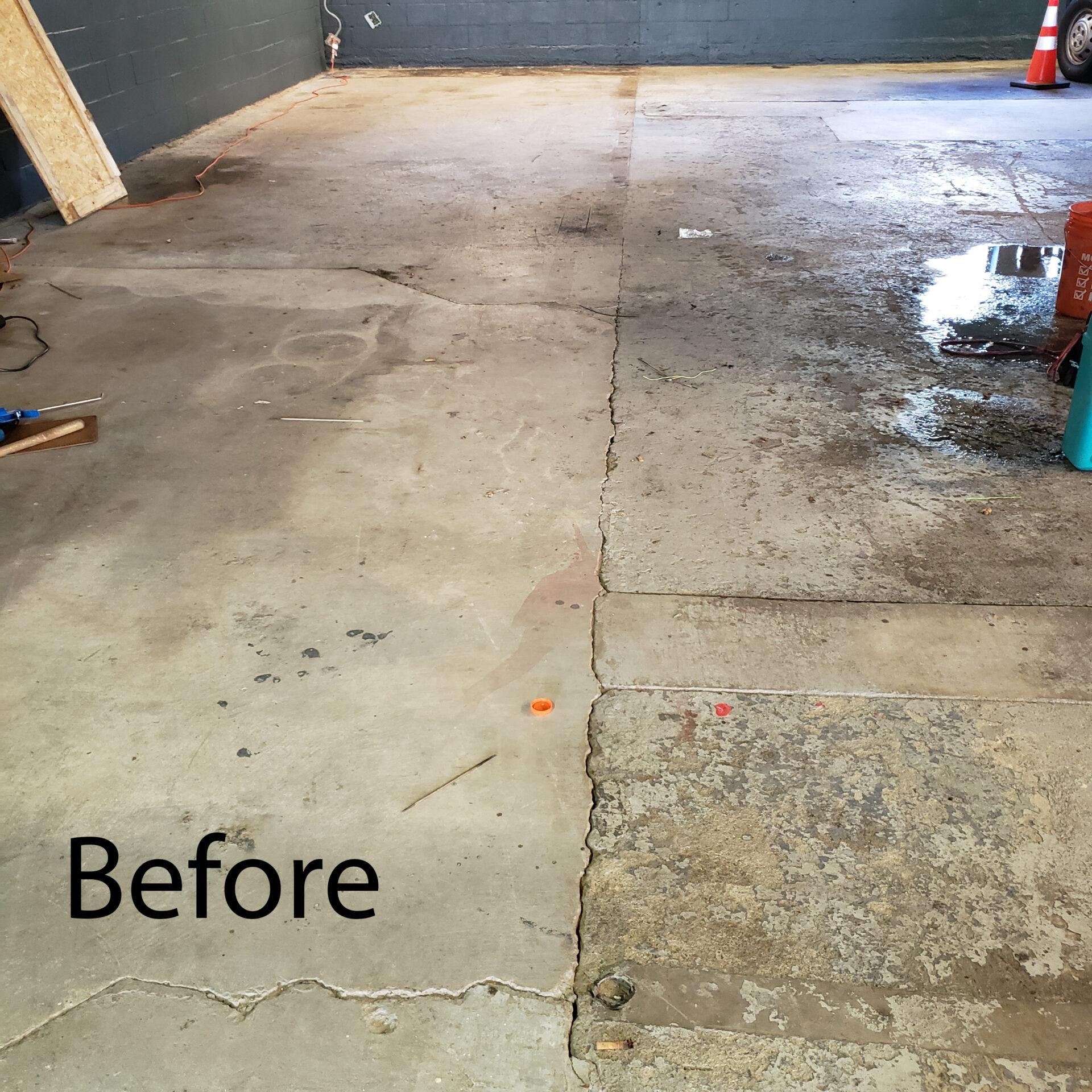 Milford, NH. Garage Surface Prep. Before