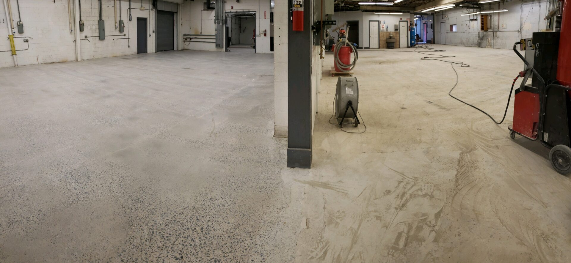 The Reliance team worked on a 10,000 square foot industrial space. The floors we began with had multiple layers of epoxy and paint. We see this commonly as epoxy and paint are often applied over existing floor surfaces. When we got down to the bare floor, we were able to give it a full warehouse polish and burnish. With the application of a densifier, the finished surface was harder and much easier to maintain, not to mention very attractive.