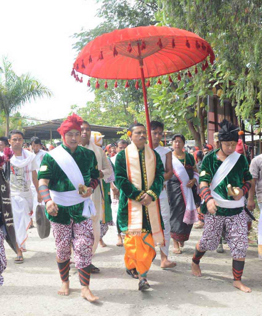 Titular king of Manipur, Leishemba Sanajaoba, now Rajya Sabha MP, during a ceremonial march.