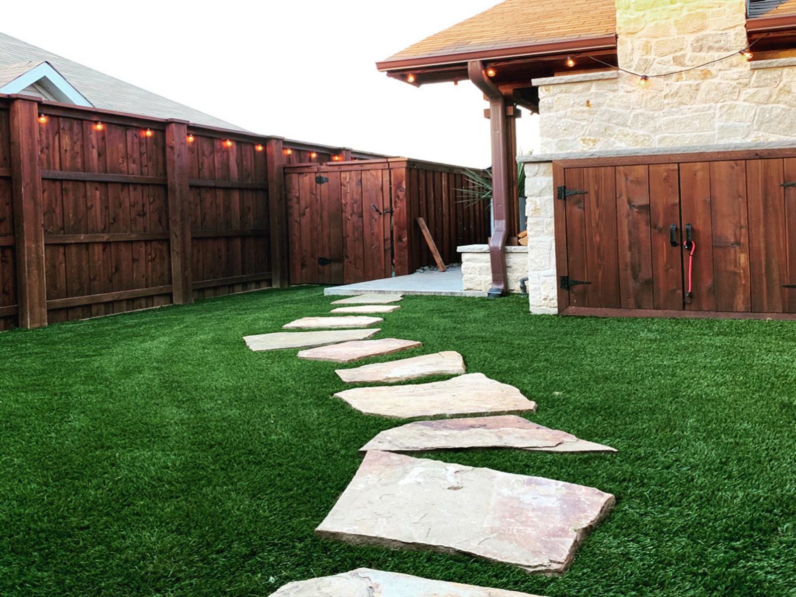 Artificial turf in residential backyard